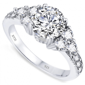 Ladies Ring - 925 Sterling Silver Engagement Band Ring