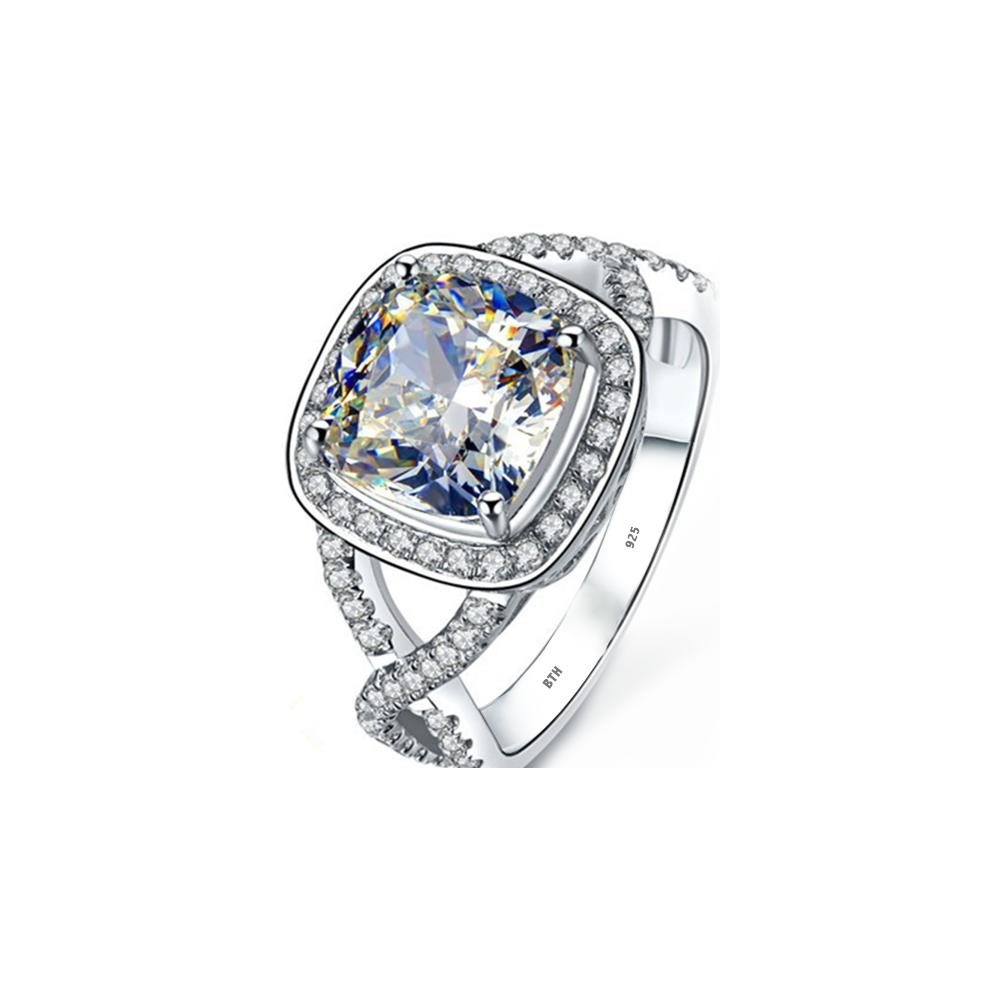 Ring-925 Sterling Silver Luxury Cushion Cut Simulated Diamonds CZ ...