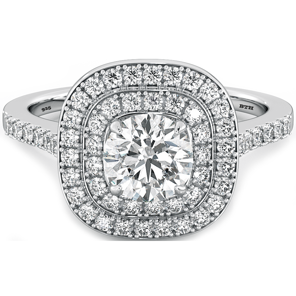 Ladies Ring925 Sterling Silver Simulated Diamonds Double Halo Wedding  Engagement Bridal Ring