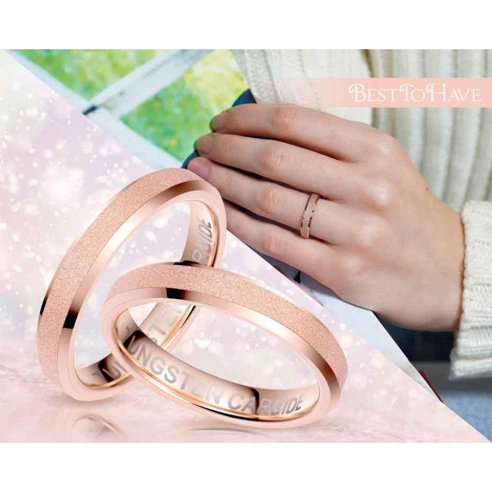 His And Hers Rose Gold Tone Tungsten Ring with Sandblasted Crystalline// 4mm