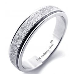 Ladies Silver Colour Sparkle Inlay Luxury Stainless Steel Band Ring