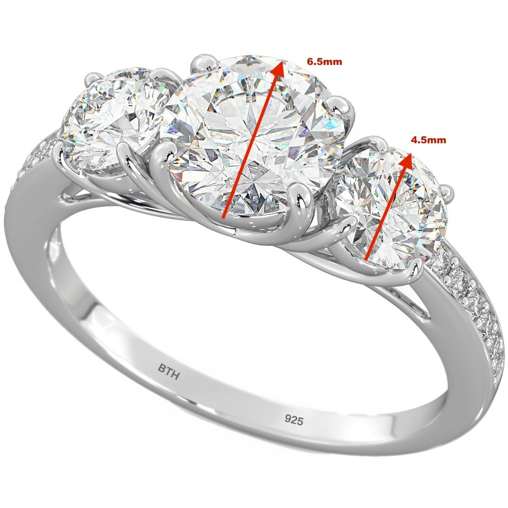 round stone band diamond bands engagement ring rings wedding three ct