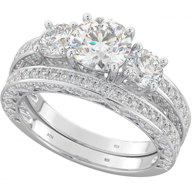 Ladies Sterling Silver Three Stone Cubic Zirconia Bridal Ring Set