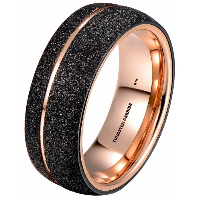 Ladies/Unisex Rose Gold Tone Tungsten Ring with Black Sandblasted Crystalline