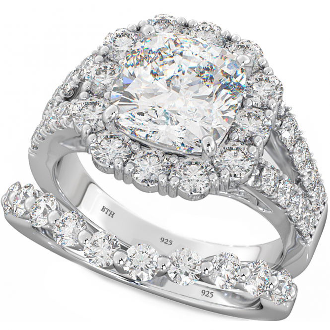 Magnificence 2-Piece Cushion cut Sterling Silver Ring Set with CZ