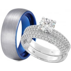 Matching His & Hers Tungsten/Silver Wedding Engagement Couple Rings Set