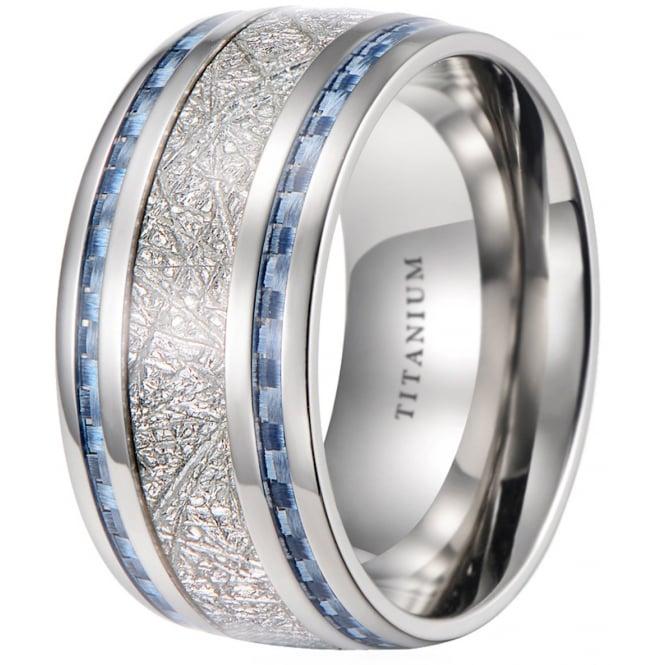 Mens 10mm Meteorite Inlay Titanium Wedding Ring