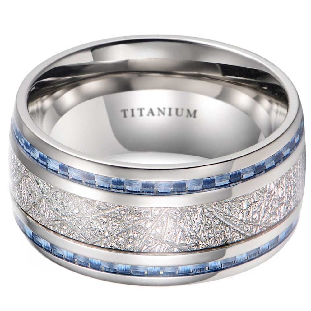 Mens 10mm Meteorite Inlay Anium Wedding Band Ring With Blue Carbon Fiber
