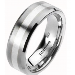Mens 925 Silver Inlay Titanium Brushed Classic Wedding Engagement Band Ring 8mm