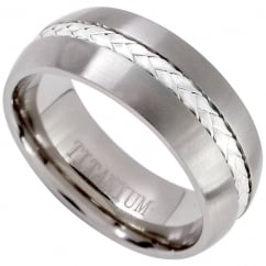 Mens 925 Silver Inlay Titanium Comfort Fit Wedding Engagement Band Ring