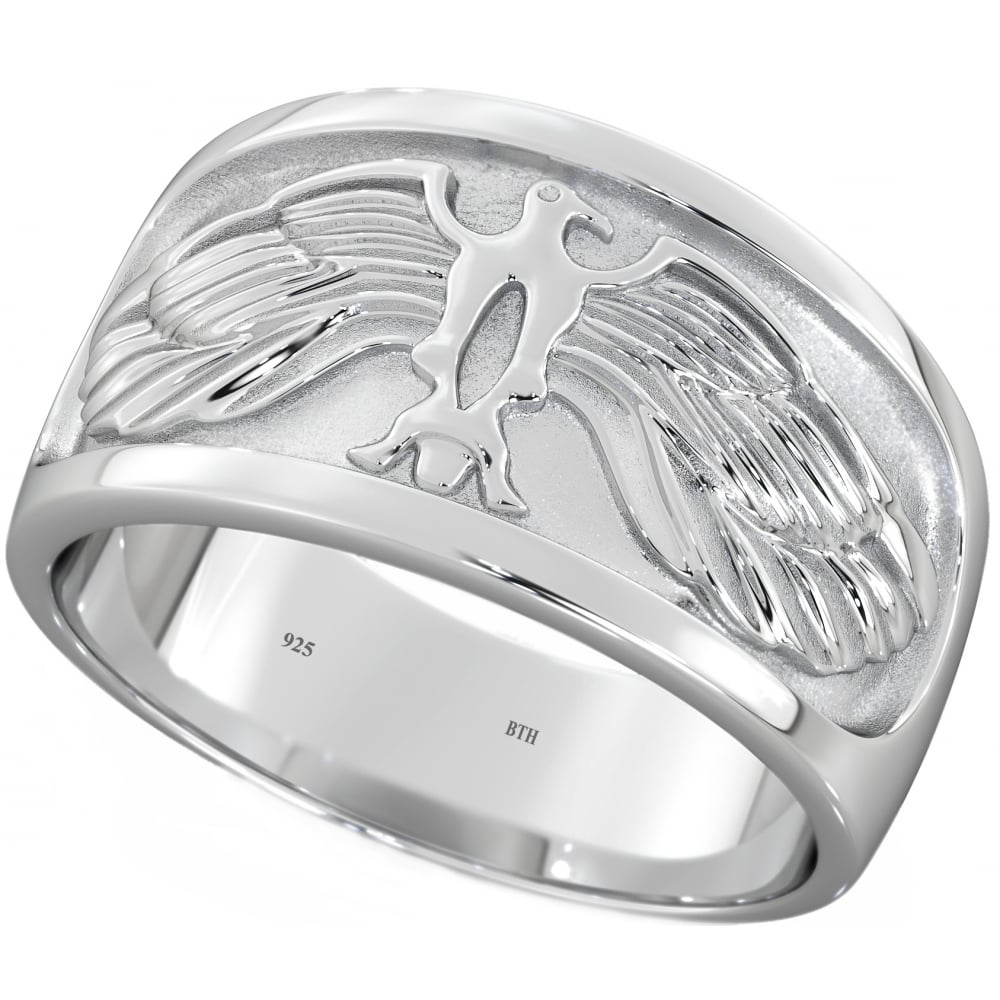 Mens 925 Sterling Silver Eagle Wedding Ring