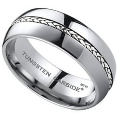 Mens 925 Sterling Silver Inlay Tungsten Carbide Wedding Band Ring
