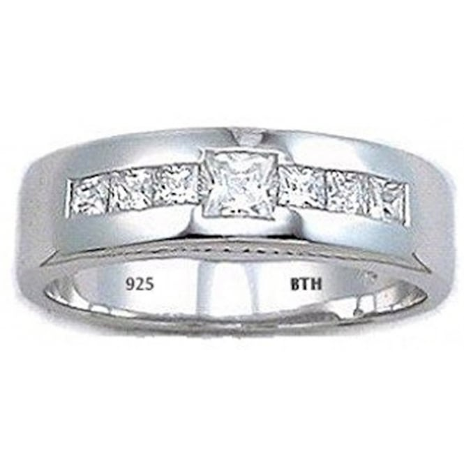 Mens 925 Sterling Silver with Diamonds CZ Wedding Engagement Band Ring
