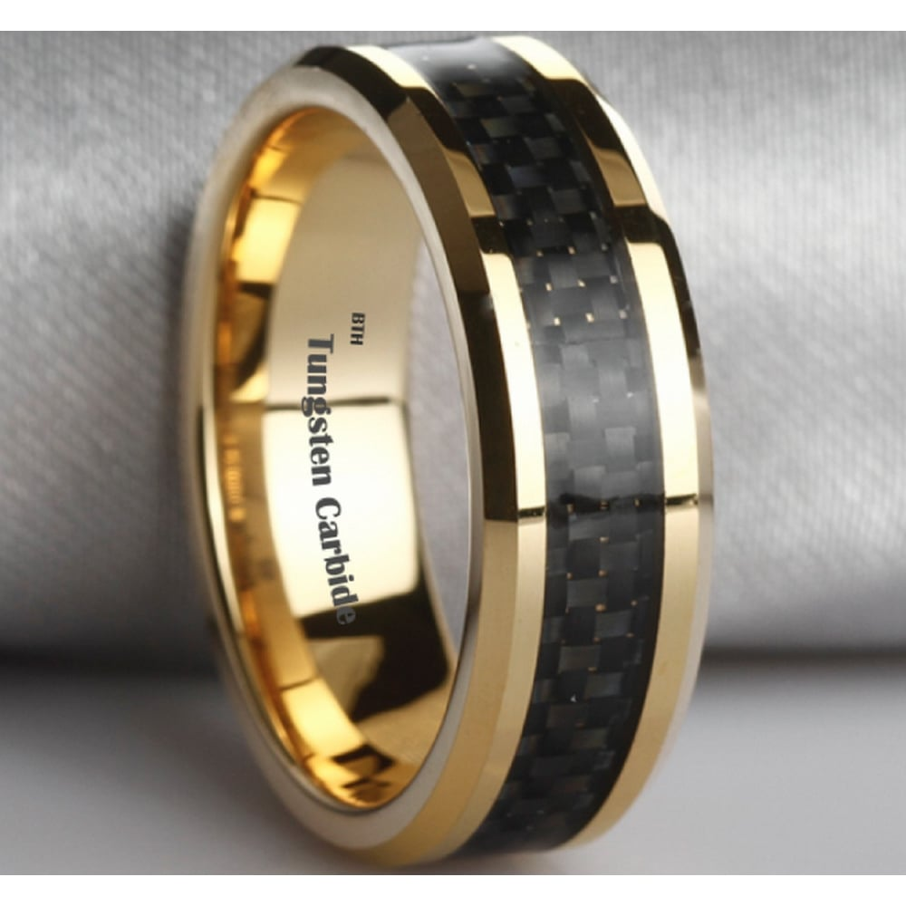 Mens Black Carbon Fiber Inlay Gold Tone Tungsten Wedding Ring 8mm