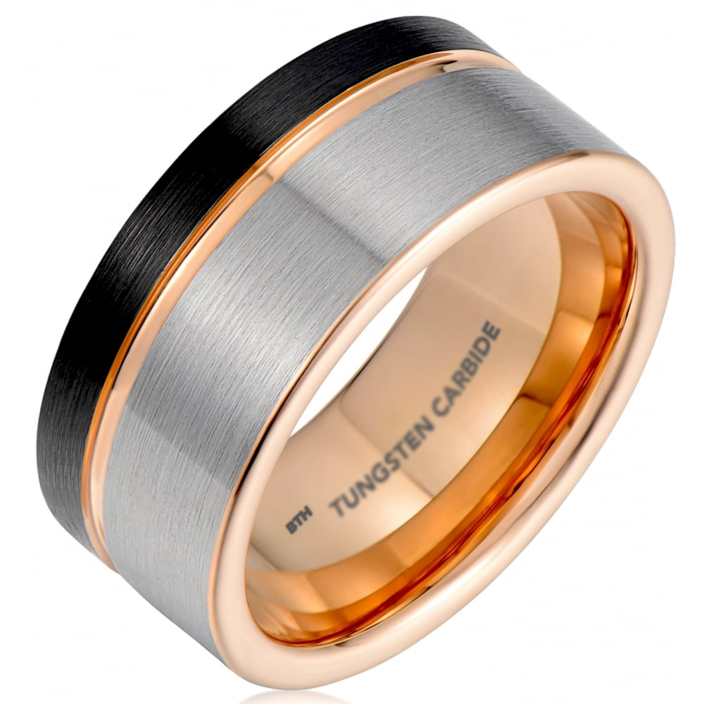Mens Black Gunmetal Grey Tungsten Carbide Wedding Ring With Rose Gold