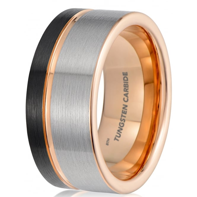 Mens Black Gunmetal Grey Brushed Tungsten Carbide Wedding Band With Rose Gold Interior