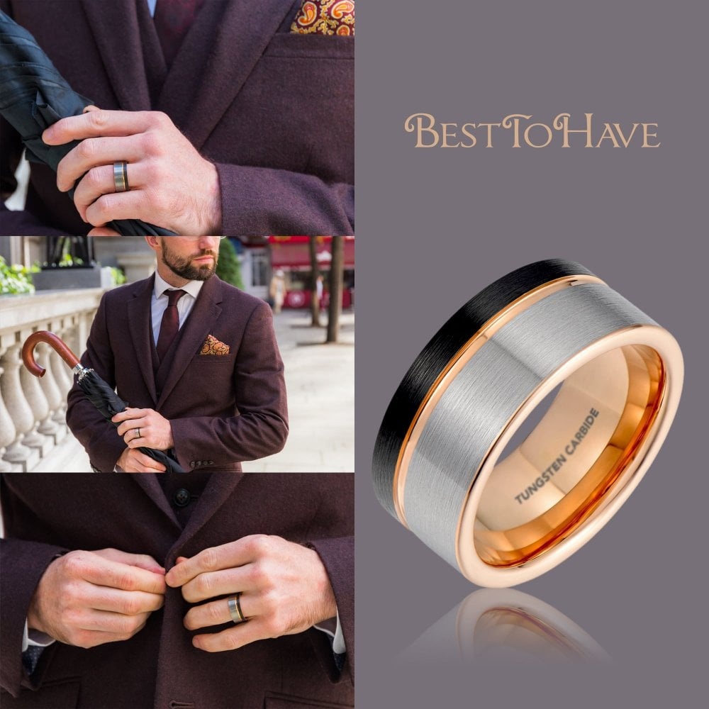 It is just a graphic of Mens Black/ Silver Tone Brushed Tungsten Wedding Band/ Rose Gold Interior
