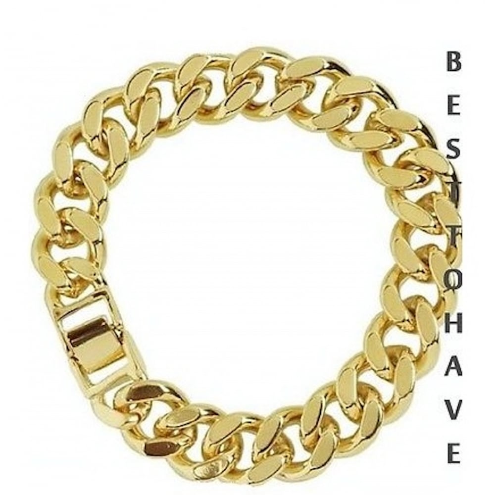Mens Bracelet Luxury 18k Heavy Gold Layered Curb 14mm 9 Inches Top