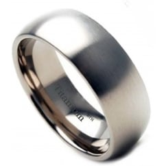Mens Brushed Titanium Comfort Fit Wedding Band Ring - 8mm