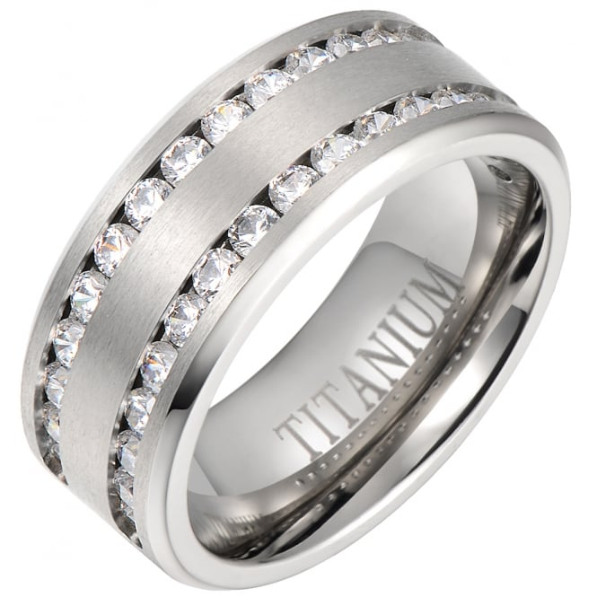 Mens Classic 8mm Titanium Engagement Wedding Eternity Band