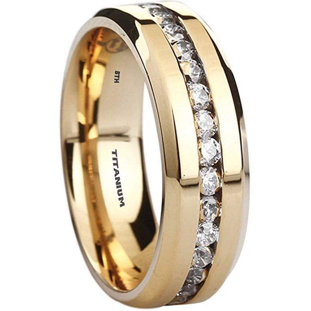 Mens Classic Titanium Gold Cubic Zirconia Engagement Ring ...
