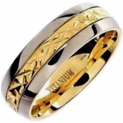 Mens Gold Plated Titanium Wedding Engagement Comfort Band Ring