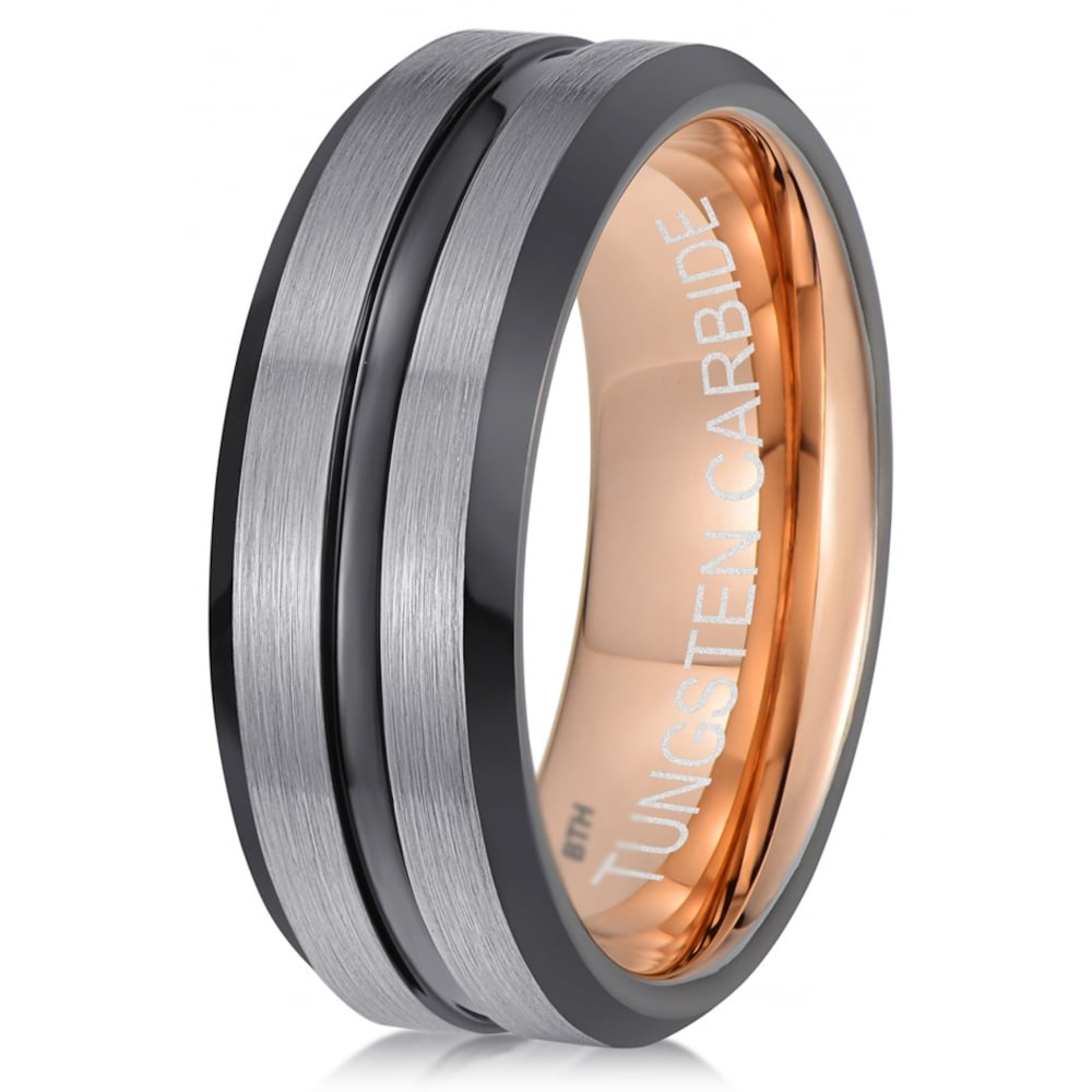 Mens Gun Metal Black Grey Tungsten Ring