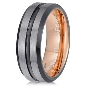 Mens Gun Metal Black/ Grey Tungsten Carbide Wedding Band