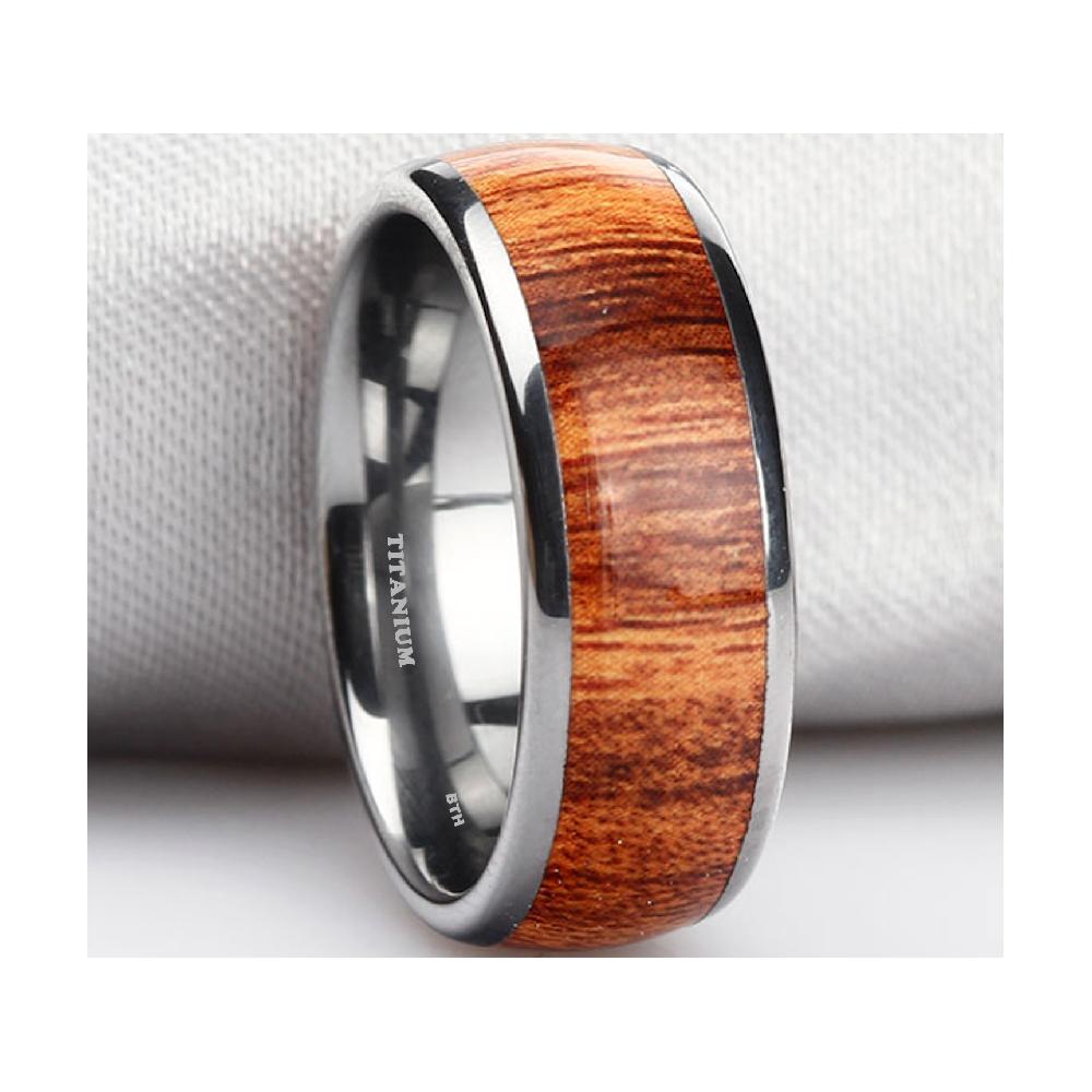 Mens KOA WOOD Inlay Titanium Ring 8mm