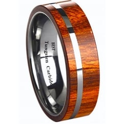 Mens KOA WOOD Inlay Tungsten Carbide Ring 6mm Wide Wedding Engagement Band Ring