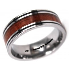 Mens KOA WOOD Inlay Tungsten Carbide Ring 8mm Wide Wedding Engagement Band Ring