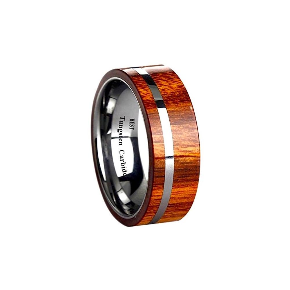 Mens Koa Wood Inlay Tungsten Carbide Ring 8mm