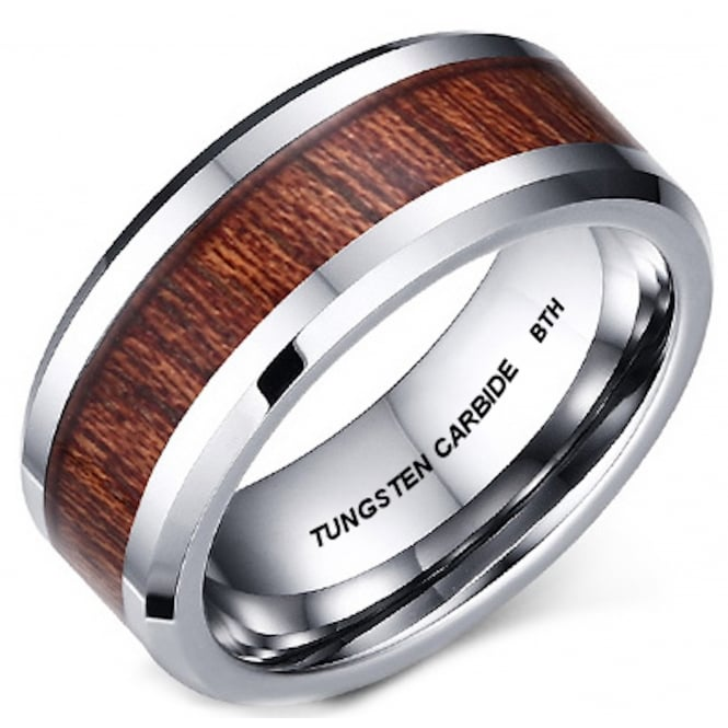 Mens KOA Wood Inlay Tungsten Carbide Wedding Band Ring