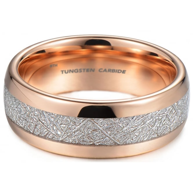 Mens Rose Gold Tone Tungsten Carbide Wedding Engagement Ring With Imitation Meteorite Inlay
