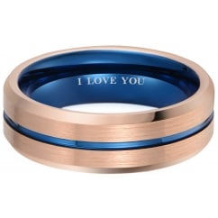 Mens Rose Gold Tone with Blue Interior Tungsten Ring - Engraved With I love you