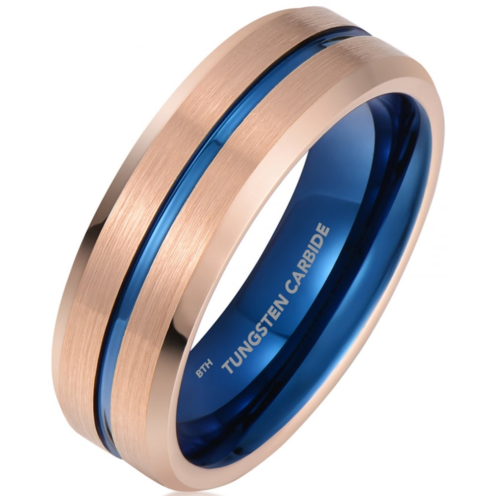 Mens Rose Gold Tone With Blue Interior Tungsten Wedding Band Ring