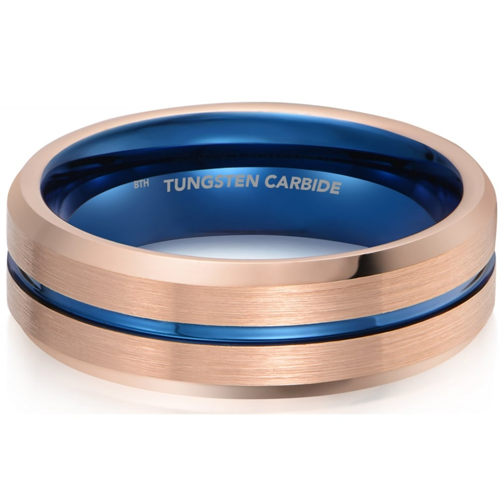 It is just a graphic of Mens Rose Gold Tone with Blue Interior Tungsten Wedding Band Ring
