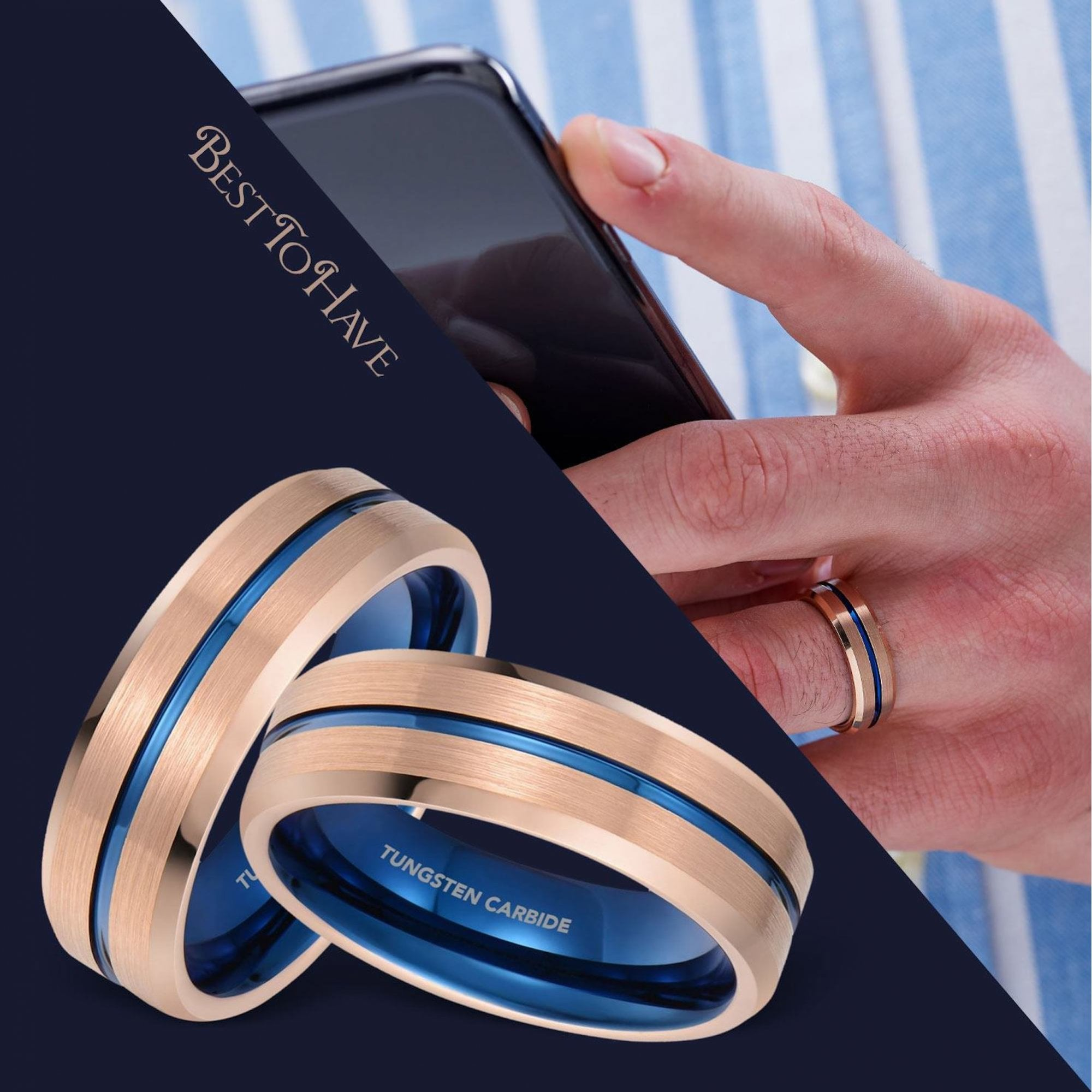 It is a graphic of Mens Rose Gold Tone with Blue Interior Tungsten Wedding Band Ring