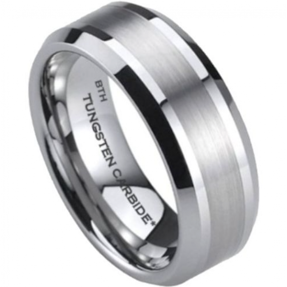 Mens Tungsten Carbide Wedding Engagement Band Ring 8mm