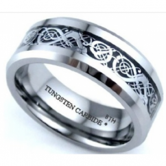 Mens Silver Celtic Dragon Inlay Comfort Fit Wedding Band Tungsten Ring