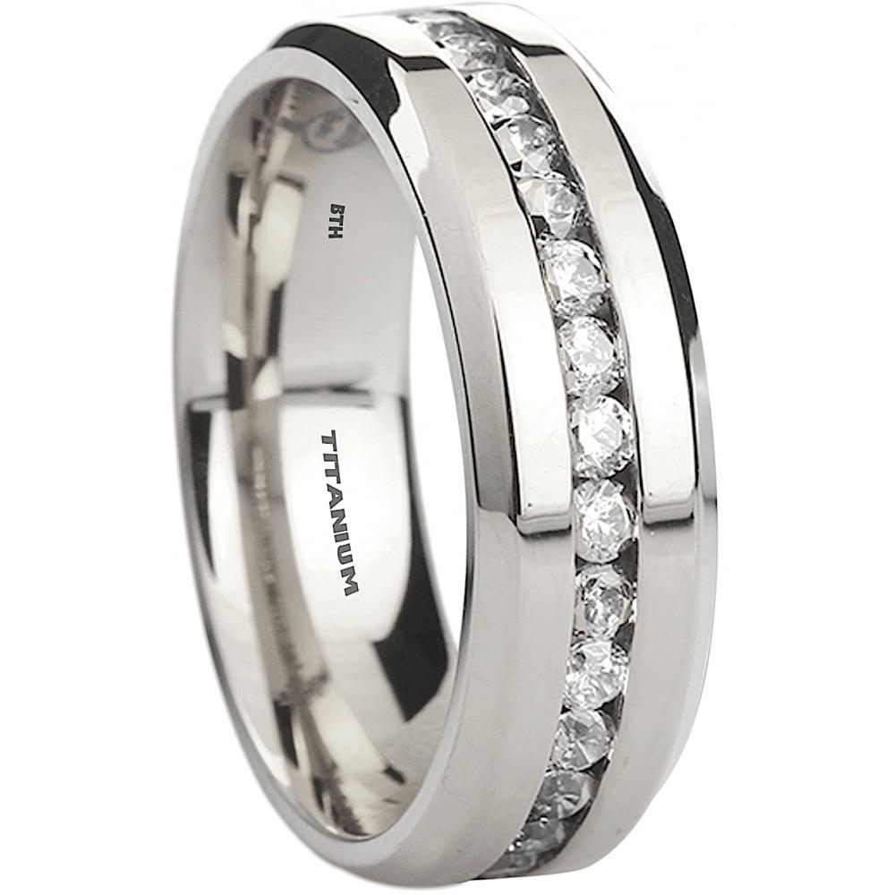 Mens Anium 8mm Clic Cubic Zirconia Wedding Band Ring