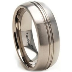Mens Titanium Brushed Ring - 8mm Wide - Classic Unisex Wedding Engagement Comfort Fit Band Ring
