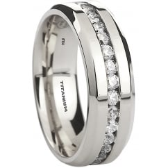 Mens Titanium Ring - 8mm Classic Wedding Engagement Cubic Zirconia Ring