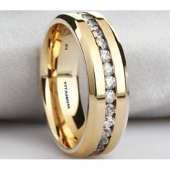 Mens Titanium Ring-8mm Wide Classic Unisex Gold Tone Wedding Band Ring