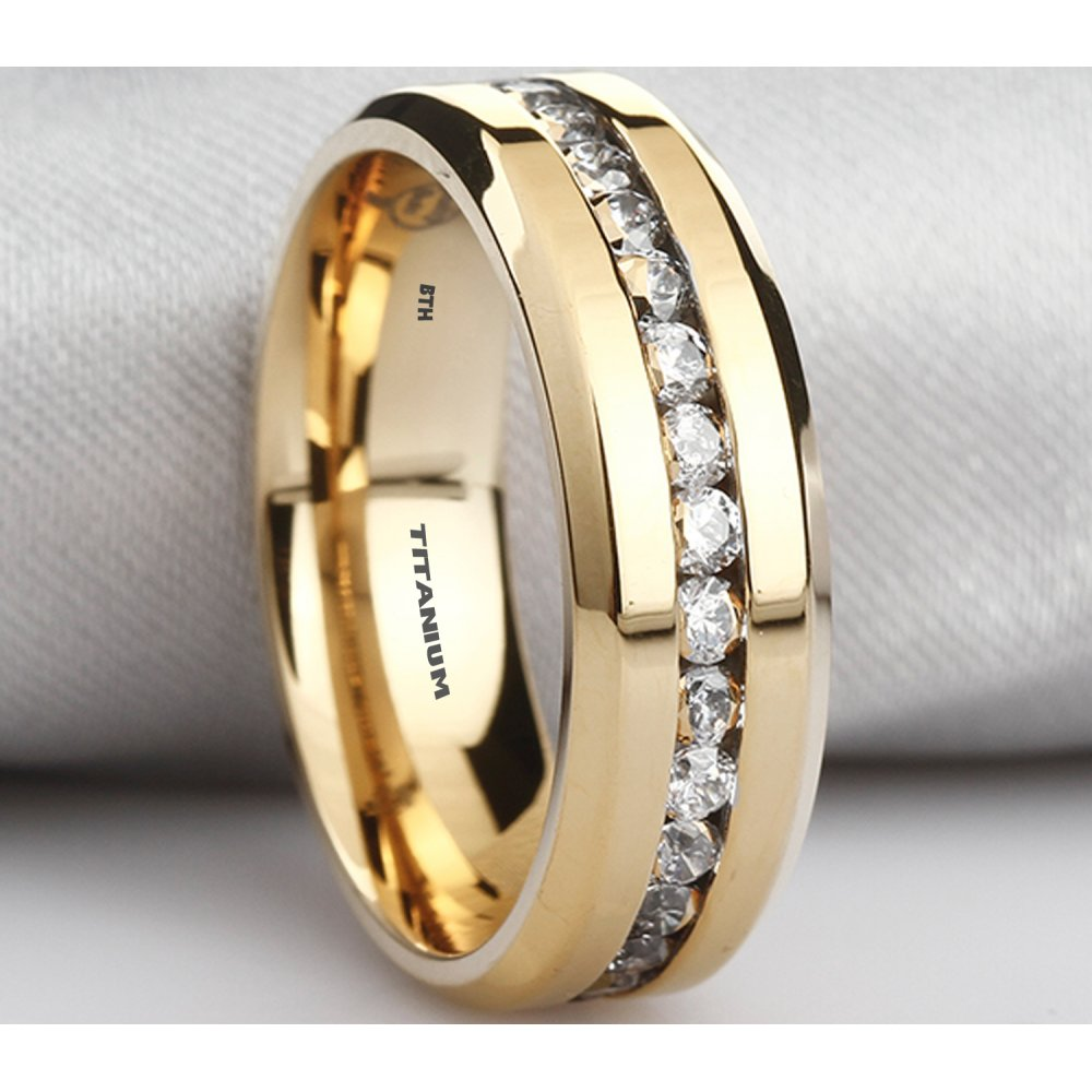 Mens Titanium Ring With Simulated Diamonds Gold Tone Wedding Band Ring