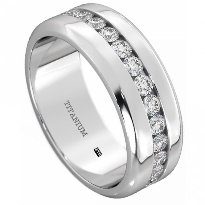 Mens Titanium Ring-8mm Wide Simulated Diamonds Classic Unisex Wedding Engagement Band Ring