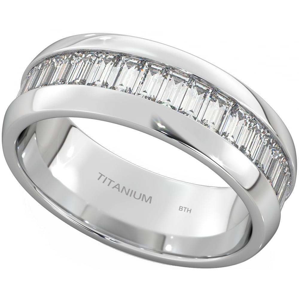 Mens Titanium Ring Emerald Cut Simulated Diamonds Wedding