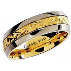 Mens TiTanium Ring- Engraved Inside With I Love You Classic Unisex Gold Tone Wedding Engagement Band Ring