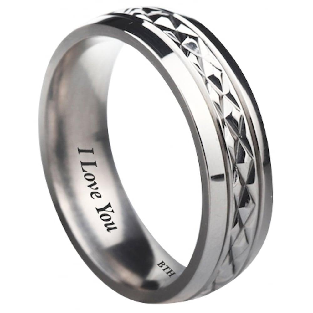 I Love You Unisex Titanium Wedding Engagement Comfort Band Ring