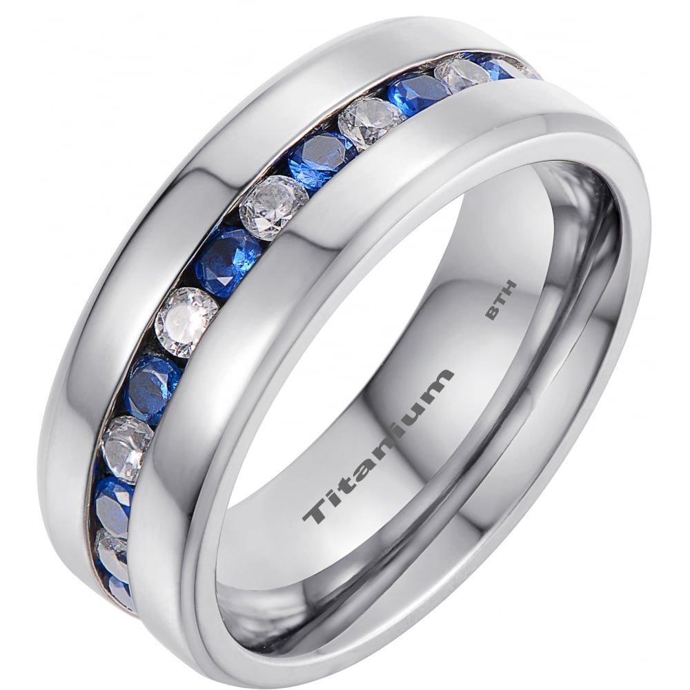 mens titanium wedding band ring with blue sapphire cubic